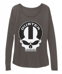 Duster Mopar Skull Dark Grey Heather BELLA+CANVAS Women's  Flowy Long Sleeve Tee $43.99