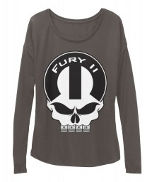 Fury II Mopar Skull Dark Grey Heather  Women's  Flowy Long Sleeve Tee $43.99