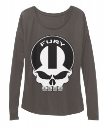Fury Mopar Skull Dark Grey Heather  Women's  Flowy Long Sleeve Tee $43.99