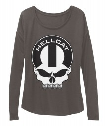 Hellcat Mopar Skull Dark Grey Heather  Women's  Flowy Long Sleeve Tee $43.99