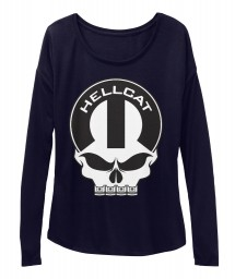 Hellcat Mopar Skull Midnight BELLA+CANVAS Women's  Flowy Long Sleeve Tee $43.99
