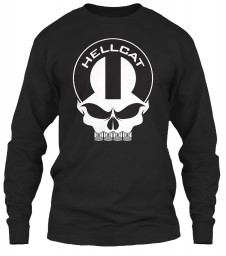 Hellcat Mopar Skull Black Gildan 6.1oz Long Sleeve Tee $25.99