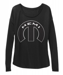 Hemi Mopar M Black BELLA+CANVAS Women's  Flowy Long Sleeve Tee $43.99