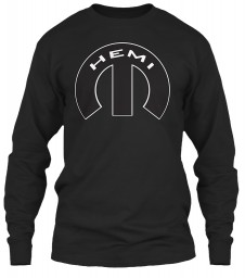 Hemi Mopar M Black Gildan 6.1oz Long Sleeve Tee $25.99