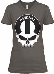 Hemi Mopar Skull Asphalt BELLA+CANVAS Women's V-Neck Tee $23.99