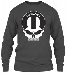 Hemi Mopar Skull Charcoal Gildan 6.1oz Long Sleeve Tee $25.99