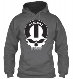 Hemi Mopar Skull Dark Heather Gildan 8oz Heavy Blend Hoodie $38.99