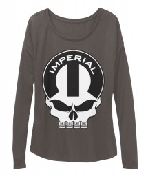 Imperial Mopar Skull Dark Grey Heather BELLA+CANVAS Women's  Flowy Long Sleeve Tee $43.99