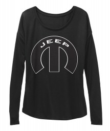 Jeep Mopar M Black BELLA+CANVAS Women's  Flowy Long Sleeve Tee $43.99