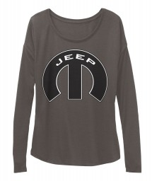 Jeep Mopar M Dark Grey Heather BELLA+CANVAS Women's  Flowy Long Sleeve Tee $43.99