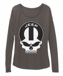 Jeep Mopar Skull Dark Grey Heather BELLA+CANVAS Women's  Flowy Long Sleeve Tee $43.99