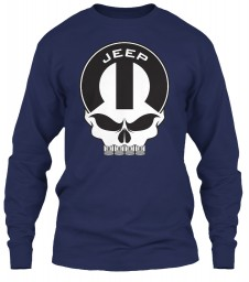 Jeep Mopar Skull Navy Gildan 6.1oz Long Sleeve Tee $25.99