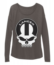 Lancer Mopar Skull Dark Grey Heather  Women's  Flowy Long Sleeve Tee $43.99
