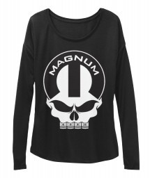 Magnum Mopar Skull Black BELLA+CANVAS Women's  Flowy Long Sleeve Tee $43.99