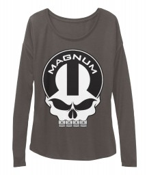 Magnum Mopar Skull Dark Grey Heather BELLA+CANVAS Women's  Flowy Long Sleeve Tee $43.99