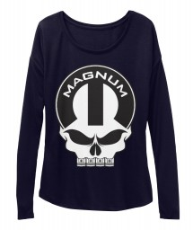 Magnum Mopar Skull Midnight BELLA+CANVAS Women's  Flowy Long Sleeve Tee $43.99
