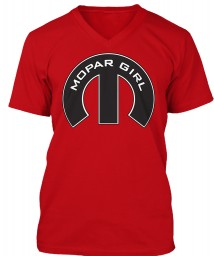 Mopar Girl Mopar M Red BELLA+CANVAS Unisex Premium Jersey V-Neck $23.99
