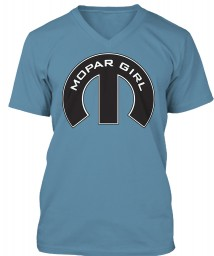 Mopar Girl Mopar M Steel Blue BELLA+CANVAS Unisex Premium Jersey V-Neck $23.99