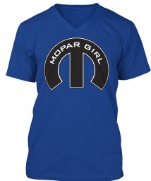 Mopar Girl Mopar M True Royal BELLA+CANVAS Unisex Premium Jersey V-Neck $23.99