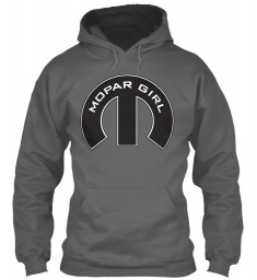 Mopar Girl Mopar M Dark Heather Gildan 8oz Heavy Blend Hoodie $38.99