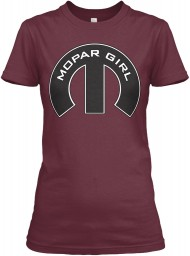 Mopar Girl Mopar M Maroon Next Level Womens Boyfriend Tee $23.99