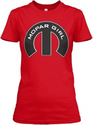 Mopar Girl Mopar M Red Next Level Womens Boyfriend Tee $23.99