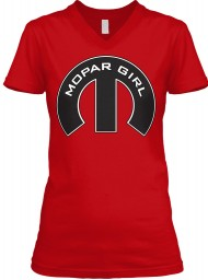 Mopar Girl V-Neck Red BELLA+CANVAS Women's V-Neck Tee $23.99