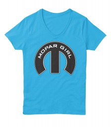 Mopar Girl V-Neck Aquatic Blue Hanes Women's Relaxed V-Neck $22.99