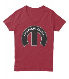 Mopar Girl V-Neck Deep Red Hanes Women's Relaxed V-Neck $22.99
