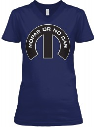 Mopar Or No Car M Navy  Women's V-Neck Tee $23.99