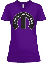 Mopar Or No Car M Team Purple  Women's V-Neck Tee $23.99