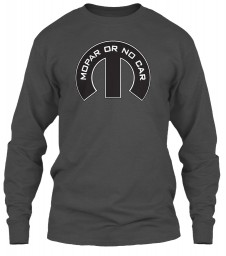 Mopar Or No Car M Charcoal Gildan 6.1oz Long Sleeve Tee $25.99