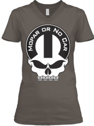 Mopar Or No Car Skull Asphalt  Women's V-Neck Tee $23.99