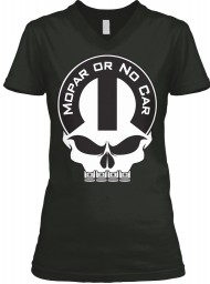 Mopar Or No Car Skull Black  Women's V-Neck Tee $23.99
