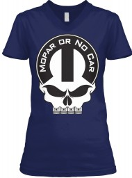 Mopar Or No Car Skull Navy BELLA+CANVAS Women's V-Neck Tee $23.99