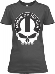 Mopar Or No Car Skull Charcoal Gildan Women's Relaxed Tee $21.99