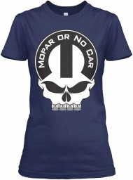 Mopar Or No Car Skull Navy Gildan Women's Relaxed Tee $21.99