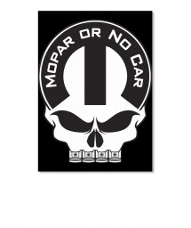 Mopar Or No Car Skull Portrait Sticker $6.00