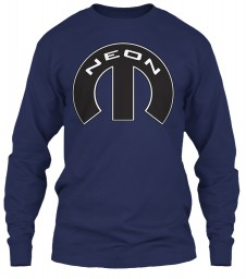 Neon Mopar M Navy Gildan 6.1oz Long Sleeve Tee $25.99