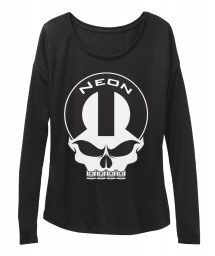 Neon Mopar Skull Black BELLA+CANVAS Women's  Flowy Long Sleeve Tee $43.99