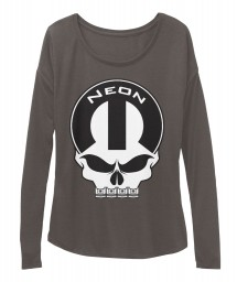 Neon Mopar Skull Dark Grey Heather  Women's  Flowy Long Sleeve Tee $43.99