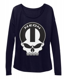 Neon Mopar Skull Midnight BELLA+CANVAS Women's  Flowy Long Sleeve Tee $43.99