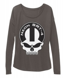Neon SRT-4 Mopar Skull Dark Grey Heather BELLA+CANVAS Women's  Flowy Long Sleeve Tee $43.99