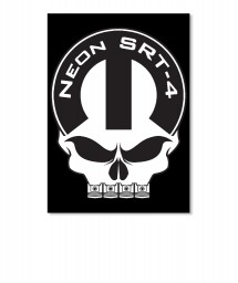 Neon SRT-4 Mopar Skull Portrait Sticker $6.00