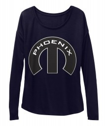 Phoenix Mopar M Midnight BELLA+CANVAS Women's  Flowy Long Sleeve Tee $43.99