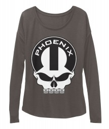 Phoenix Mopar Skull Dark Grey Heather  Women's  Flowy Long Sleeve Tee $43.99