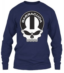 Plymouth Barracuda Mopar Skull Navy Gildan 6.1oz Long Sleeve Tee $25.99