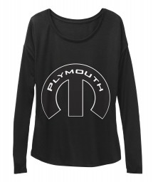 Plymouth Mopar M Black BELLA+CANVAS Women's  Flowy Long Sleeve Tee $43.99