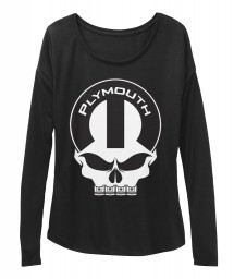 Plymouth Mopar Skull Black BELLA+CANVAS Women's  Flowy Long Sleeve Tee $43.99