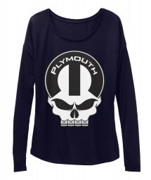 Plymouth Mopar Skull Midnight BELLA+CANVAS Women's  Flowy Long Sleeve Tee $43.99